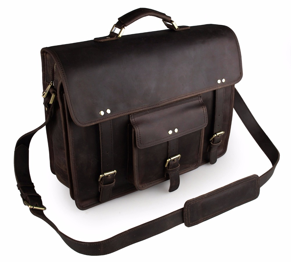 Augus Dark Brown Messenger Bag Men Men Crossbody Bag Genuine Leather Crossbody Bag Classic Handbag Laptop Bag 7234R-1 augus 100% genuine leather laptop bag fashional and classic crossbody bags leather for men large capacity leather bag 7185a