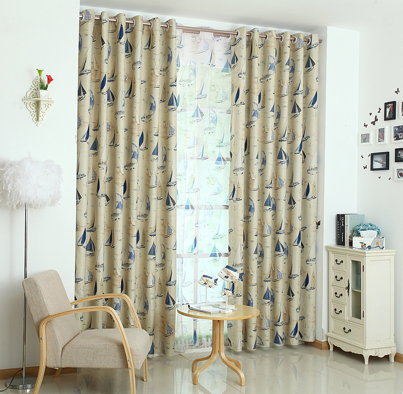 Hot Sale Cartoon Children Boat 2 Colors Curtains For Living Room Window  Punching Style Treatment /