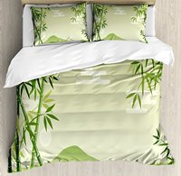 Зеленый лист постельное белье, Аннотация бамбук деревьев в Японский лес ботанический Oriental на открытом воздухе, 4 шт. Постельное белье
