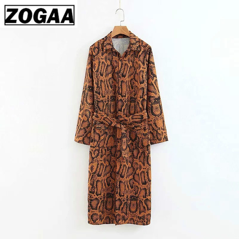 ZOGGA Women Vintage Snake Print Midi Dresses for Lady Bohemian High Waist Belt Dress Mid-long Autumn-Winter Party Boho Vestidos
