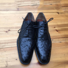 Men's Luxury Black Ostrich Skin Leather Shoes