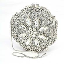 Flower Crystal Evening Bag Clutch Bags Leaf Metal Full Rhinestones Evening Bags Silver/Gold circular Diamonds Evening Bag Q46
