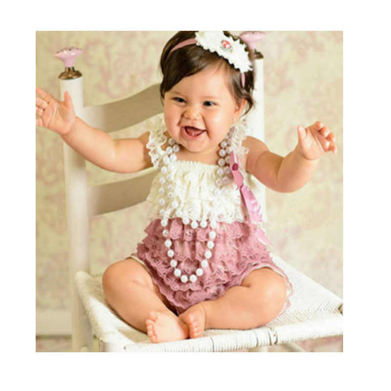 fd2f842b481c Baby Lace Rompers Newborn lucky child photography Lace Petti Romper Baby  Girls Christmas Clothes Infant Birthday