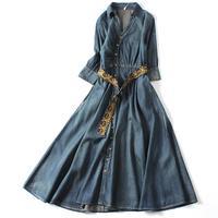 2019 Spring Autumn Vintage Denim Dress Women hlaf sleeve Slim Jeans Dresses Fashion v neck Dress with Belt