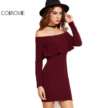 Long Sleeve Mini Dress Off Shoulder Ruffle Bodycon Dress