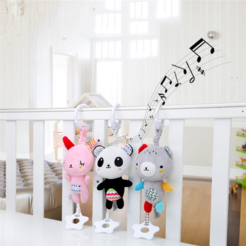 Baby Plush Owl Bear Stroller Rattles Infant Crib Mobile Handbell Toddler Musical Doll Bed Hanging Toys With Teether