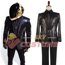 Daft Punk Sparking Black Sequin Performance Jacket Shirt Outfits Robot For Men Women Halloween Club Cosplay Costume