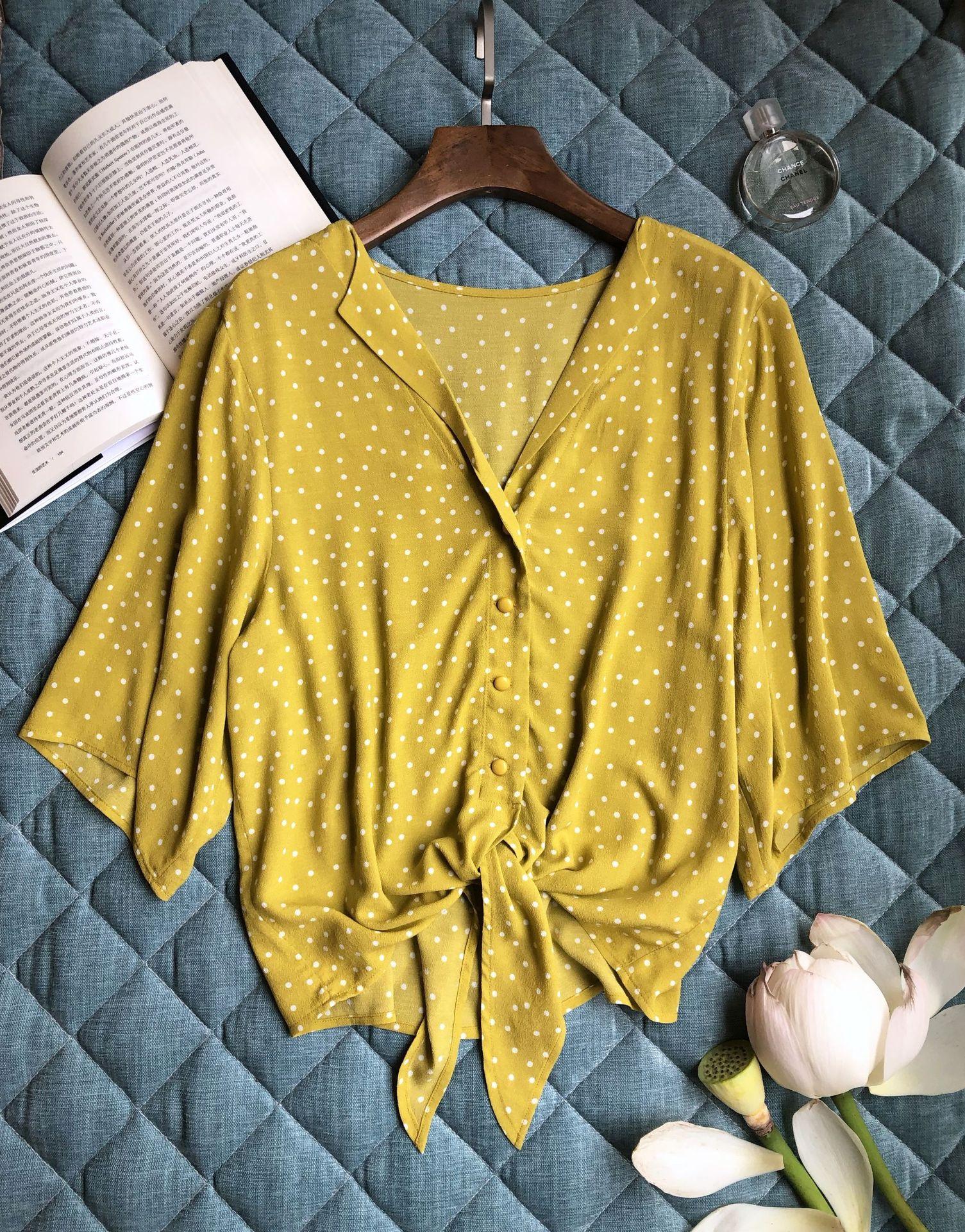 Women Shirt Yellow Dot Tie Shirt 2019 Summer Autumn Fresh Yellow Base White Dot Medium Sleeve