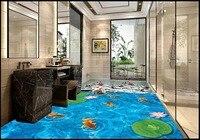 Foto sfondo personalizzato 3d pavimentazione Impermeabile auto-adesione murales di acqua Blu modello pebble pesci rossi loto 3D pavimento del bagno