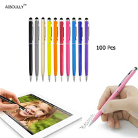 100 pz 2 in1 touch screen capacitivo punta fine stilo penna a sfera per ipad iphone ipod buona qualità aiboully