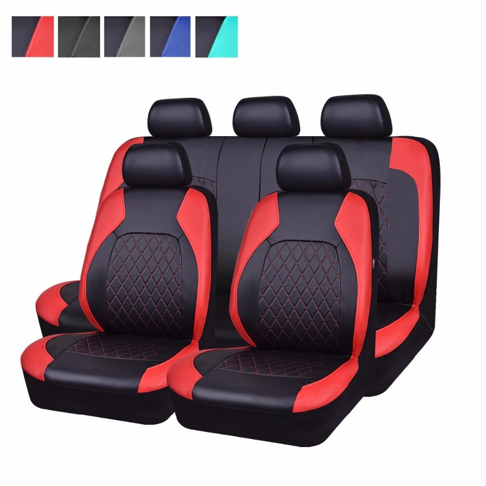 Couverture de siège de voiture verrouillage pu en cuir rouge gris couleur biens de voiture seat cover set fit pour Lada Kalina granta ford focus 2 renault logan