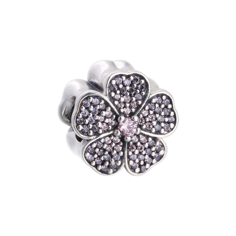 Fits Pandora bracelet Design summer Pave Flower Charms With Brilliant Pink & Purple CZ beads 925 Sterling Silver flower Jewelry
