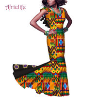 Slim Dresses for Women Lady Floor Length Dresses V necklace Sleeveless Bazin Riche African Print Dresses With Flower WY4441