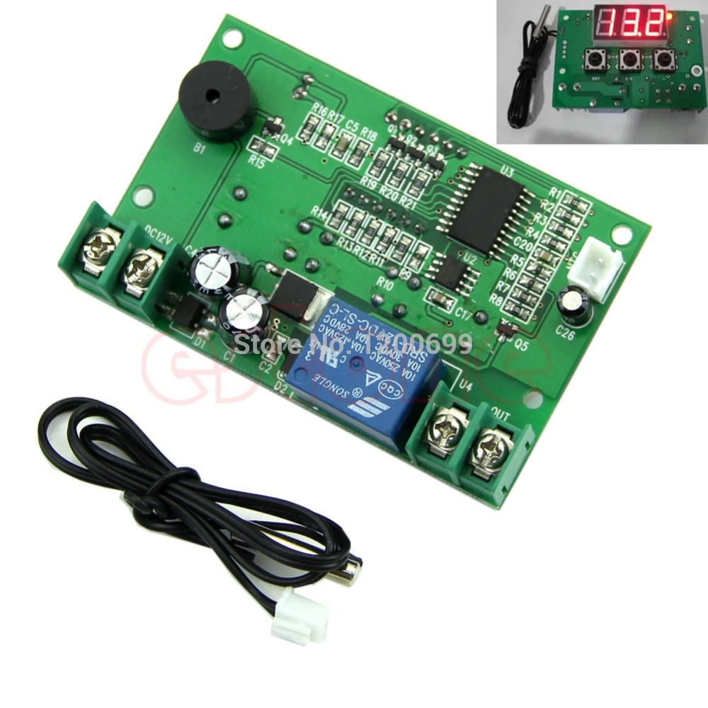 DC 12V Digital Temperature Controller Thermostat Temp Relay Sensor Control Switch-Y122 ac 250v 20a normal close 60c temperature control switch bimetal thermostat