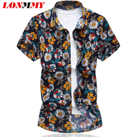 LONMMY Plus Size 6XL 2017 Summer Short Sleeves Shirts Fashion Casual Mens Shirts Flower Floral Shirt