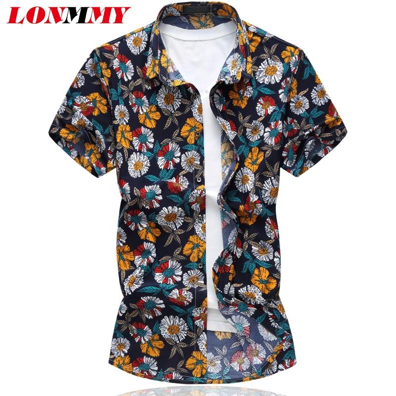 LONMMY Plus Größe 6XL 2018 Sommer Kurze Ärmel Hemden Mode Lässig - Herrenbekleidung
