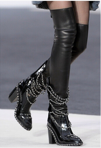 2016 Winter Women Thigh High Boots Silver Chains Thick Heel Patent Leather Over the Knee Thigh High Boots for Plus Size Women
