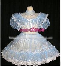 New Arrival Custom Made Anime Lolita Organza Blue Dress Uniform Cosplay Costume