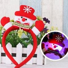 Рождественская заколка для волос с лампой резинки для волос головной убор Рождественский подарок для детей 4 цвета