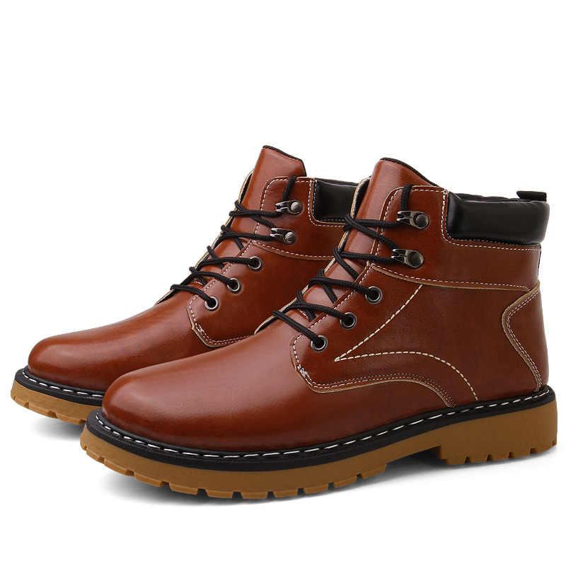 Мужская повседневная обувь в британском стиле, кожаные зимние мужские Ботинки martin в стиле ретро, повседневная мужская обувь, популярные короткие ботинки-трубы