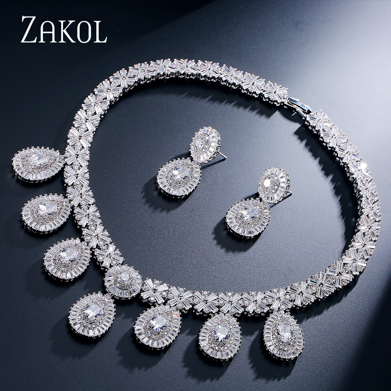 ZAKOL Luxurious Geometric Top Quality CZ Diamond White 18K Gold Plated Women Necklace and Earrings Set