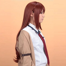 good heat resistant>>>New Makise Kurisu Steins Gate Long Straight Anime Cosplay Party Hair Full wig