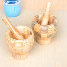 Household A Hand Made wood Mortar And Pestle Set For Garlic Masher Ginger Spice Mixing Grinding Bowl Food Kitchen tool