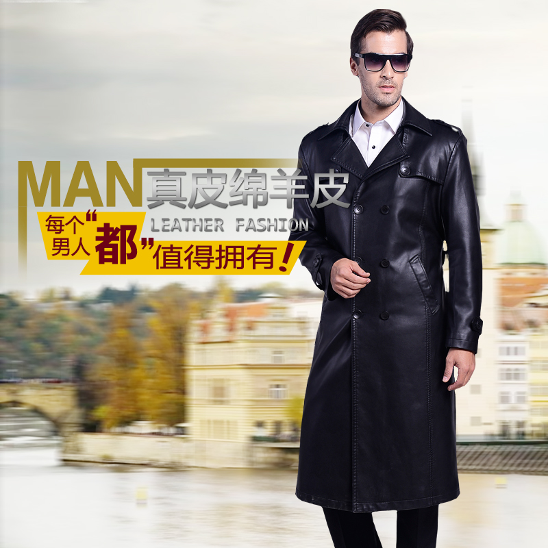 M- 4XL!!  2017  Winter new men's men's long suit collar leather coat for men's double breasted leather trench coat