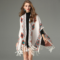 YYFS 2019 Retro Boho Geometric Bat Sleeve Tassel Knitted Cloak Sweater Women Cape Cardigan Coat Shawl Winter Casual Sweaters