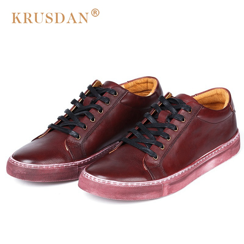 KRUSDAN Vintage Brush Off Round Toe Lace-up Man Flat Platform Shoes Genuine Leather Comfortable Men's Basic Casual Footwear NK32