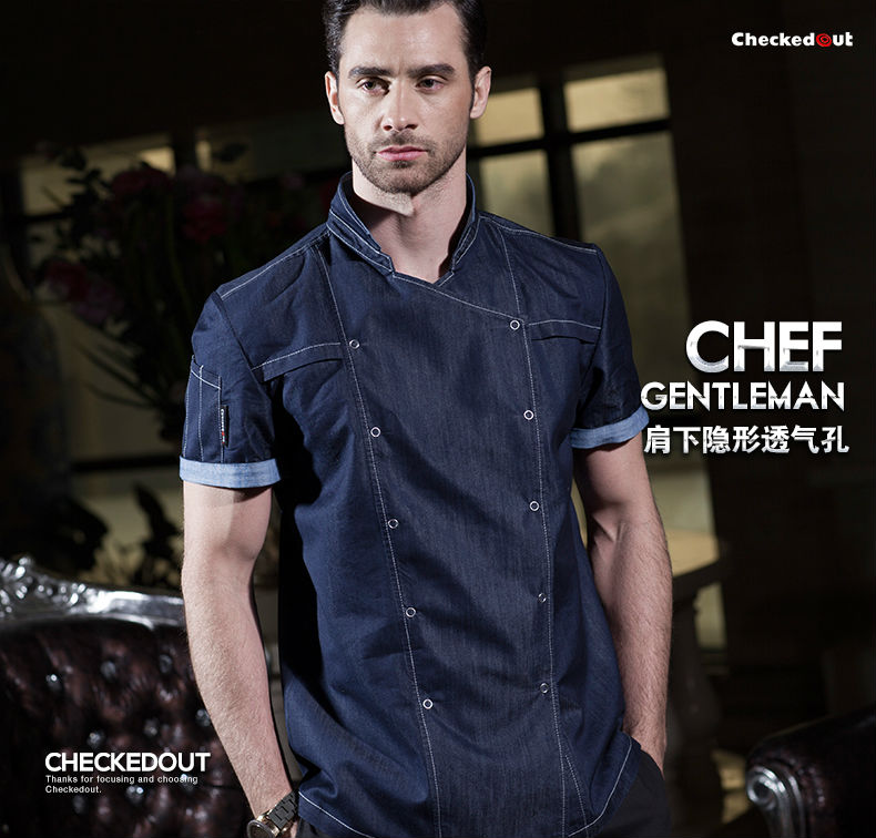 Hot 2017 summer fashion short sleeve blue denim chef jacket quality and durable hotel kitchen cook