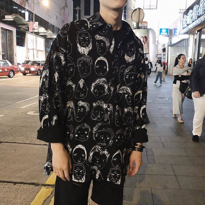 Hip Hop Shirts Men Japanese Streetwear Casual Print Shirt Male Summer Spring Fashion 2019 Harajuku Long Sleeve Hawaiian Shirts
