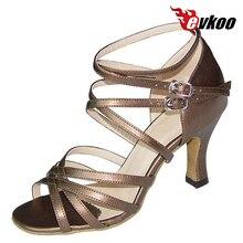 Evkoo Danse Satin Ou Pu Femme Latine Salsa Chaussures De Danse Avec Longue Sangle Confortable Chaussures Pour La Danse Evkoo-122