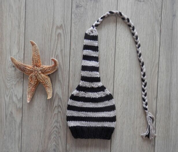 Free Shippingbaby Long Tail Hat Newborn Crochet Black And Gray