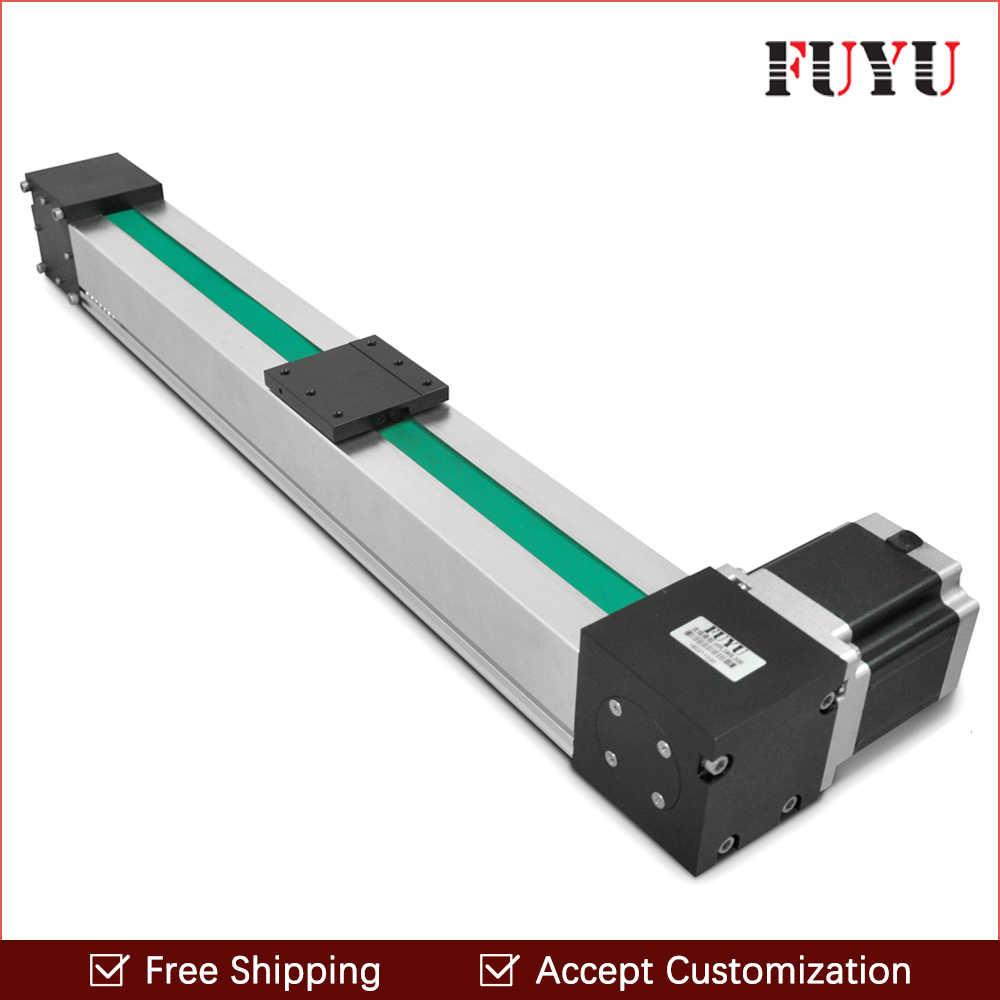 free shipping 900mm stroke belt drive linear guide rail motion slide actuator motorized nema 34 stepper [ 1000 x 1000 Pixel ]