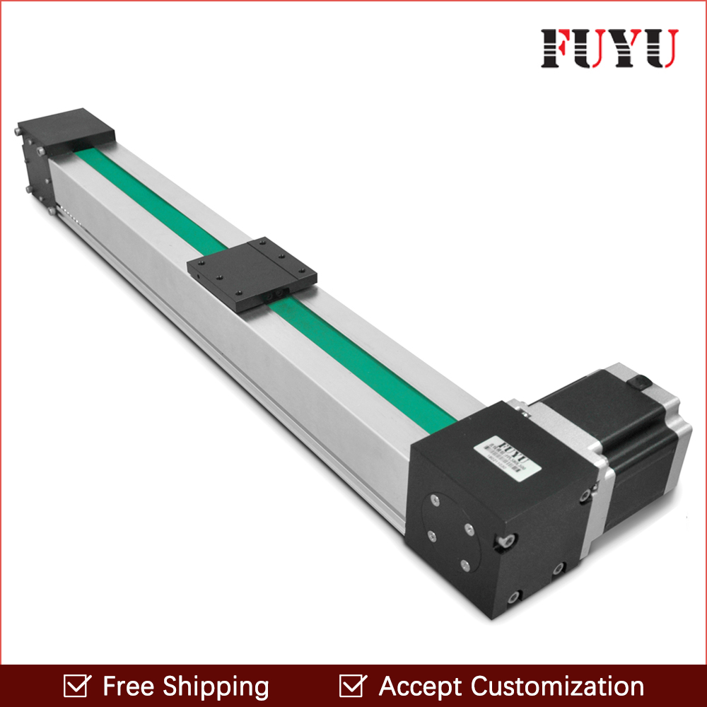 Free shipping 900mm stroke belt drive linear guide rail motion actuator motorized Nema 34 stepper motor 3 meter/s motion speed belt driven linear slide rail belt drive guideway professional manufacturer of actuator system axis positioning