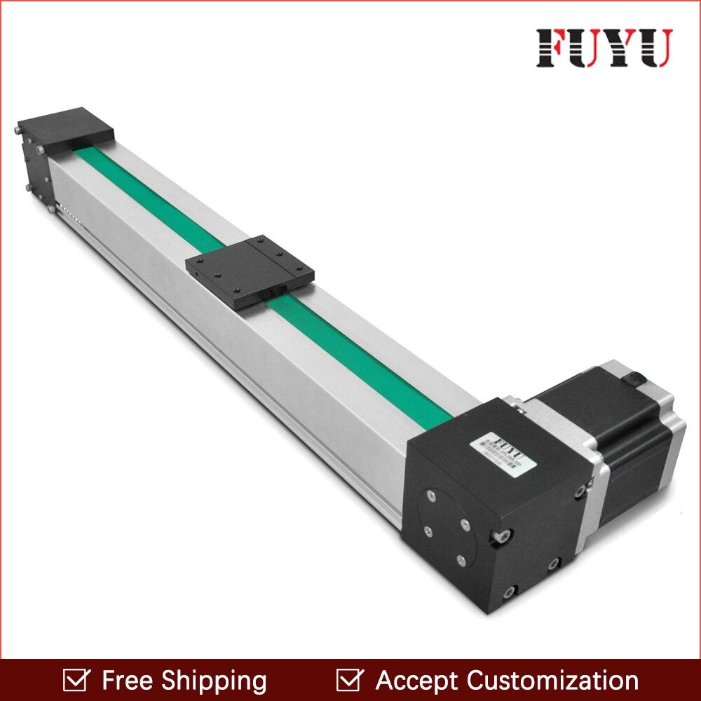 Free shipping 900mm stroke belt drive linear guide rail motion slide actuator motorized Nema 34 stepper motor 3 meter/s speed
