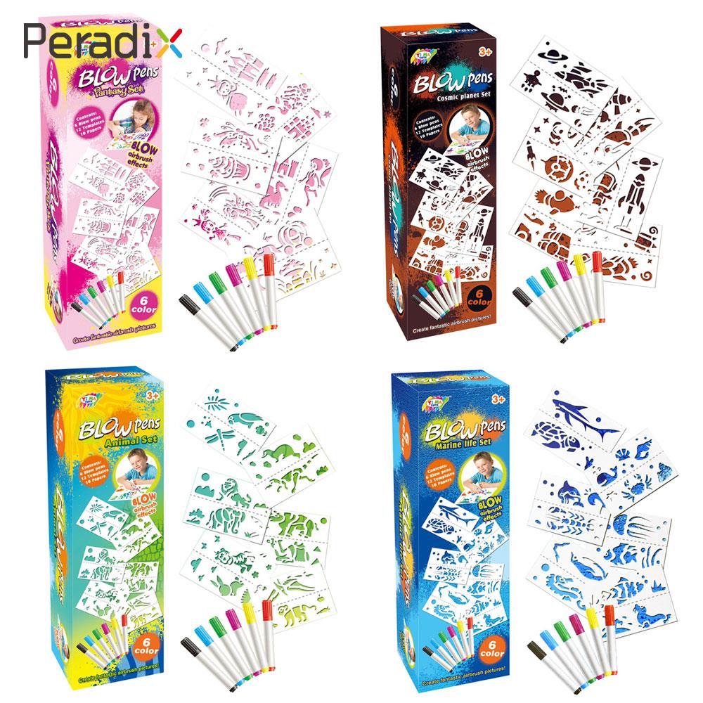 6PCS Plastic Art Stencil Blow Pen DIY Brush Colourful Festival Card Airbrush Amazing Pictures Fantasy подставка для париков neitsi 6pcs plastic