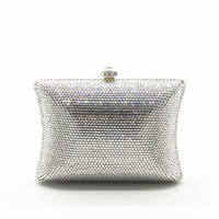 Women Gold/silver Crystal diamond Evening Bags Hard Case Metal day Clutches Wedding Party Minaudiere Handbags purses wallets bag