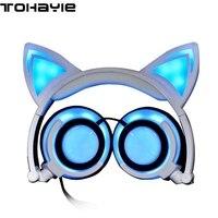ToHayie Cat Ears Headphone Headset With Micro USB LED Glowing Lights Gaming Headphone Cheese Cat Earphone For Computer Phone Pad
