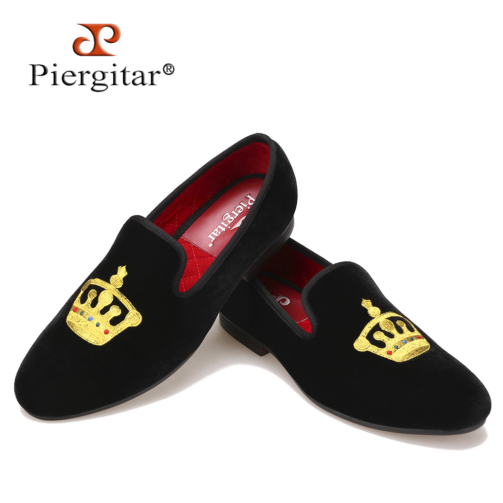 Embroidered Gold Crown Design Men Velvet Shoes Fashion Men Smoking Slippers Men wedding and party shoes SizeUS6-14 Free shipping luxurious handmade embroidered motif paisley men velvet loafer slippers men wedding and party shoe size 4 14 free shipping