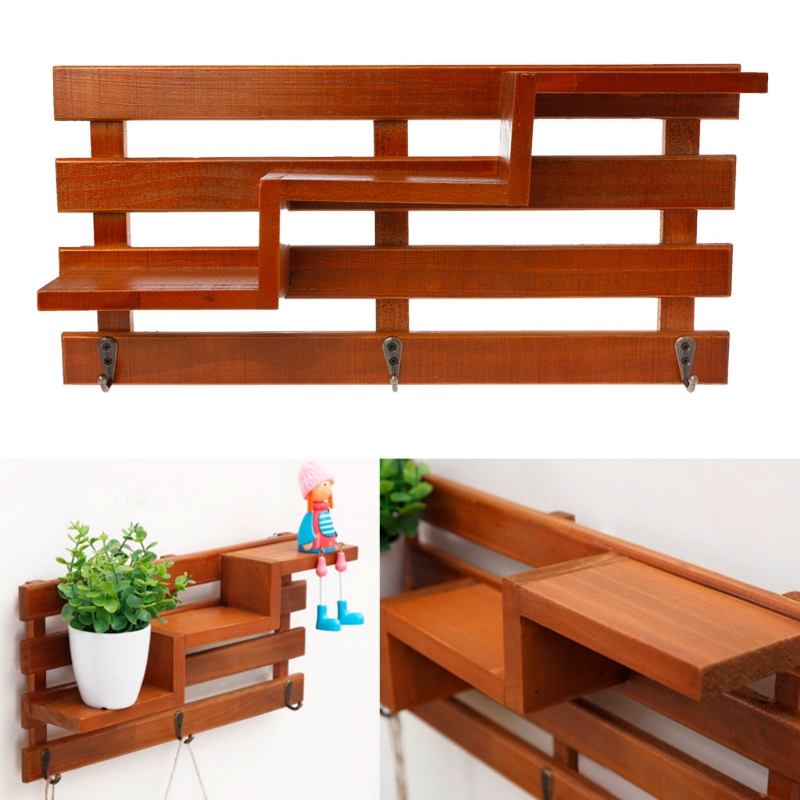 Natural Wood Boxes Cargo Organizer Storage Box Simple Small Key Hanging Storage Case Hook Type Shelf Wood Rack Desk Organizer