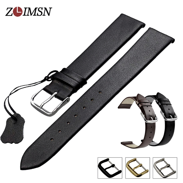 ZLIMSN Genuine Leather Watchband Smooth Soft Thin Watch Band Belt Suitable for L