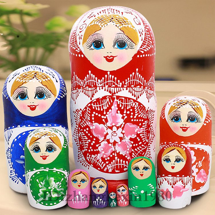 22cm Wooden Matryoshka Set Russian Dolls Baby Toy Nesting Dolls Hand Painted Home Decoration Birthday Gifts 10 Layer