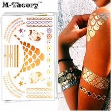 M-theory Golden Metallic Choker Temporary Tattoos Body Art Flash Tatoos Sticker 21x15cm Tatto Bikini Swimsuit Dress Makeup Tools