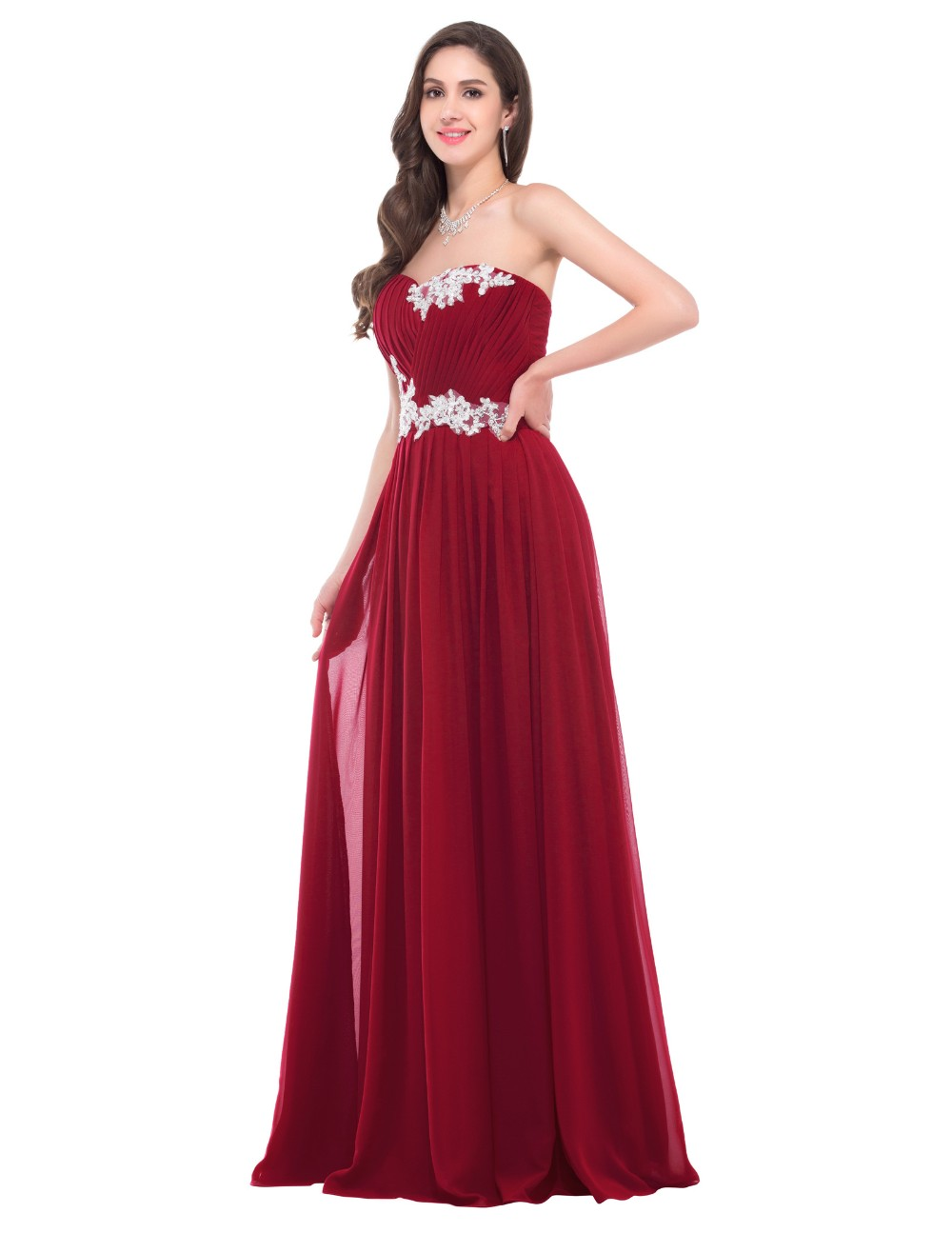 Pretty Beaded Sequins Floor Length Sweetheart Bridesmaid Dress