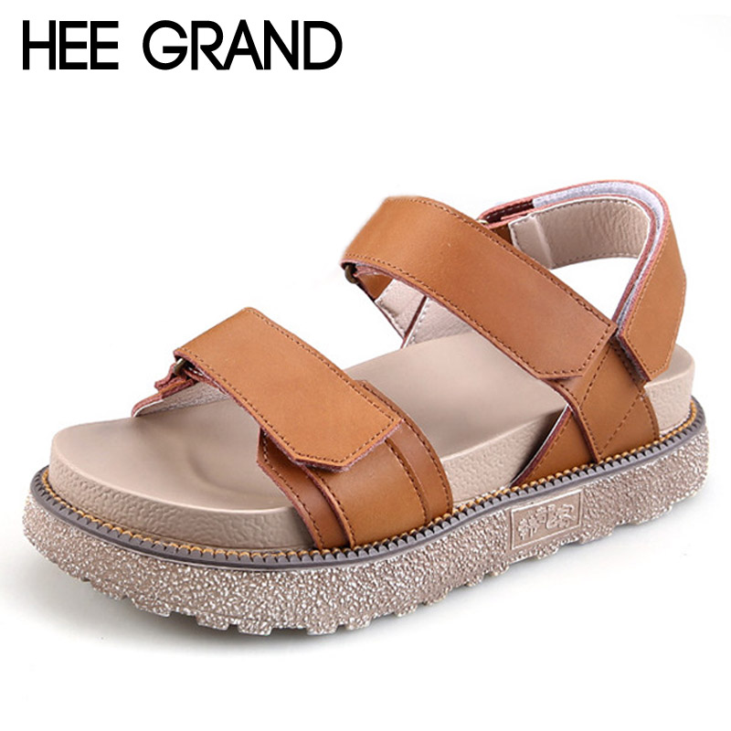 HEE GRAND Platform Summer Sandals 2017 Creepers Casual Shoes Woman Gladiator Sandals Slip On Flats Plus Size 35-43 XWZ3665 phyanic crystal shoes woman 2017 bling gladiator sandals casual creepers slip on flats beach platform women shoes phy4041