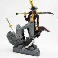 Scultures Big One Piece Dracule Mihawk Model Doll With Sword PVC Figure Collectible Model Toy