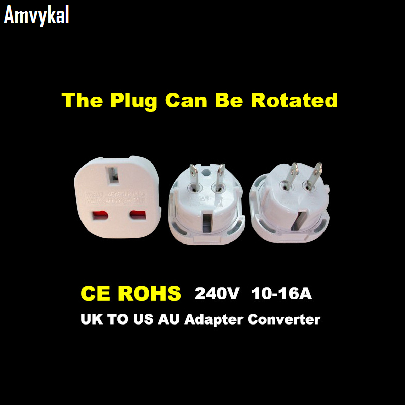 Amvykal CE Universal Travel AC Power Socket 9628 UK To US AU Plug Adapter Converter Plug Electrical Adaptor Plug 500 Pcs/lot