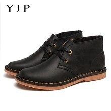 YJP Подлинной Натуральной Кожи Сапоги Чекка, черный/Коричневый Ретро Ботинки, дышащий, Босоножки, Повседневная Обувь, мужчины, Идущие Ботинки